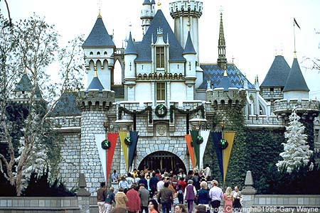 the sleeping beauty castle at disneyland at christmas time photo