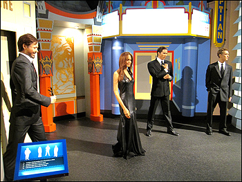 wax figures of Robert Downey Jr., Angelina Jolie, Jude Law and Christian Bale