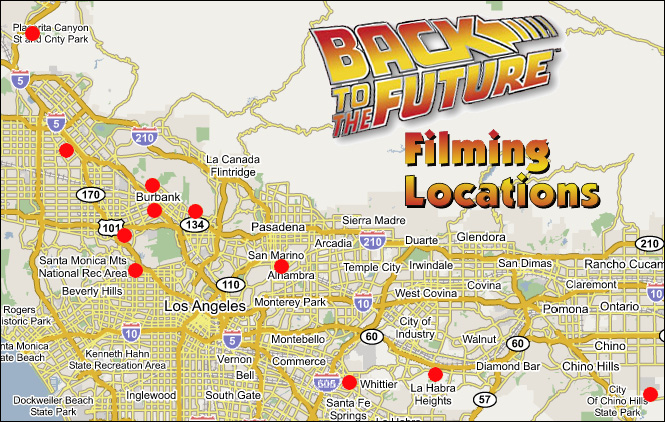 Los Angeles Map Location.Back To The Future Filming Locations Clickable Map
