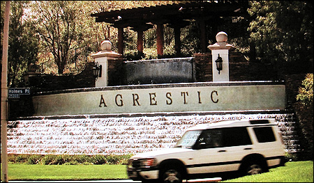 Next, We See The Entrance To The Fictional Community Of Agrestic, Featuring  A Sign And Fountain.