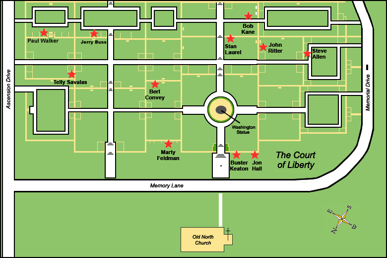 Map of Stars Graves  Forest Lawn Hollywood  Court of Liberty