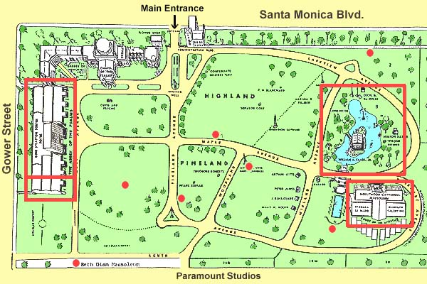 Map of Stars Graves at Hollywood Memorial Park