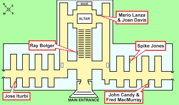 Map of Stars\' Graves at the Holy Cross Mausoleum in Los Angeles