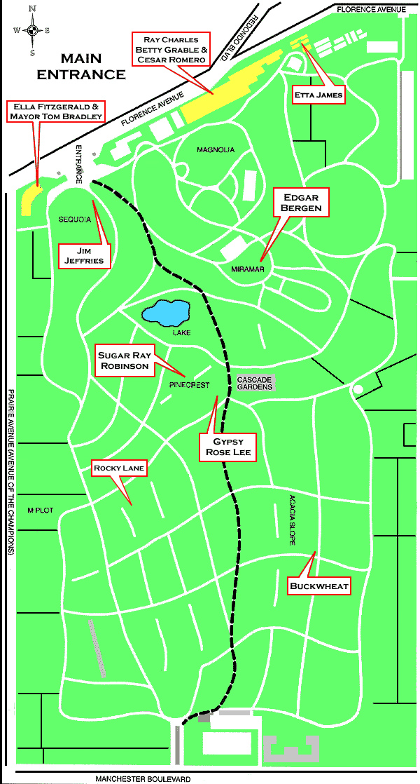 Map Of Inglewood Park Cemetery - Inglewood map